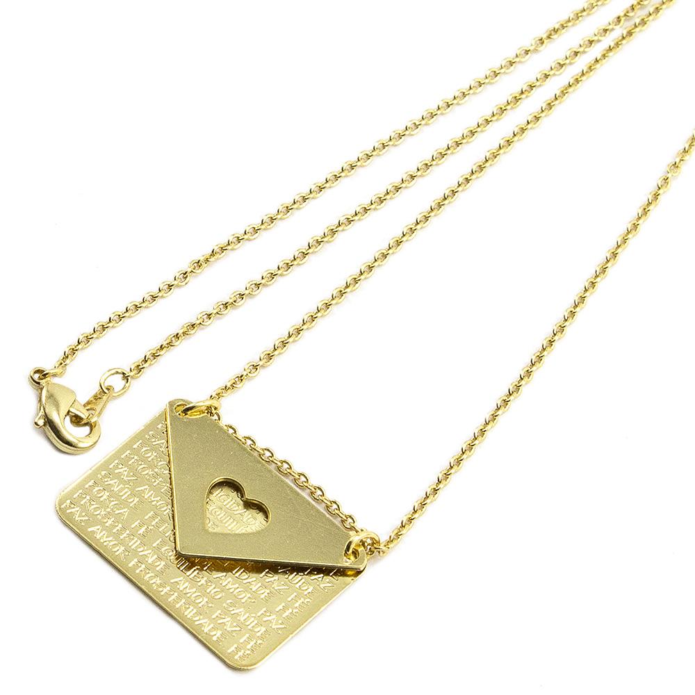 Gargantilha Carta Folheada a Ouro 18k