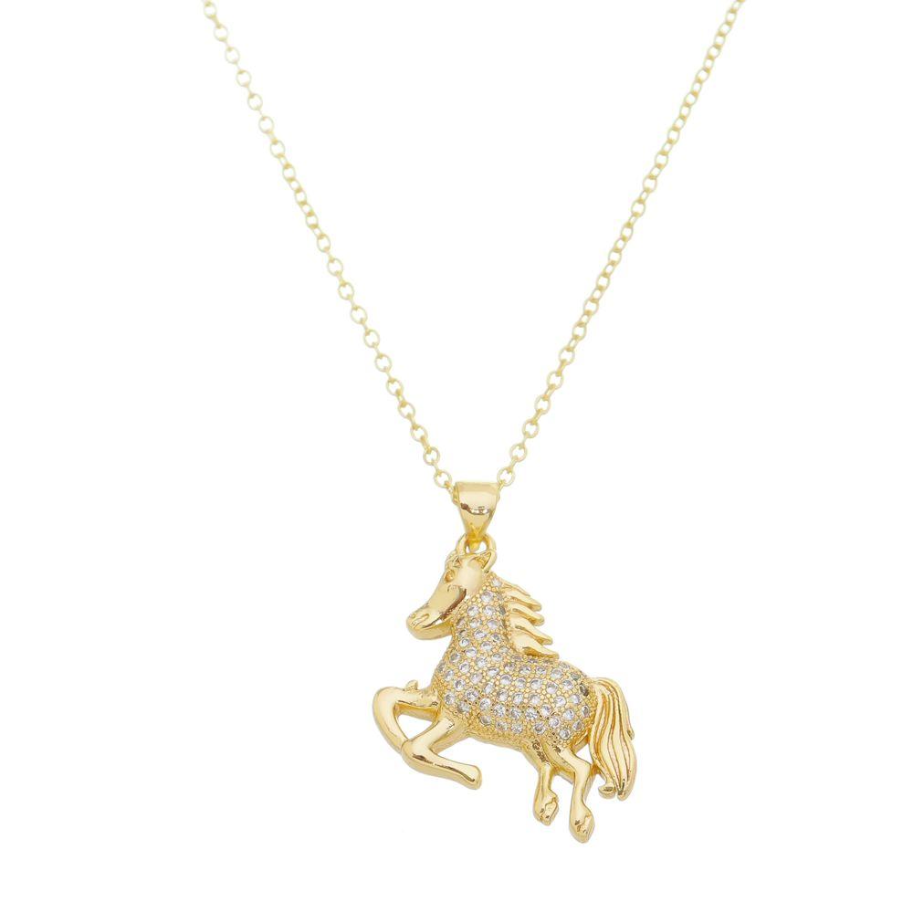 Gargantilha Cavalo Branco Com Pedras Folheado a Ouro 18k