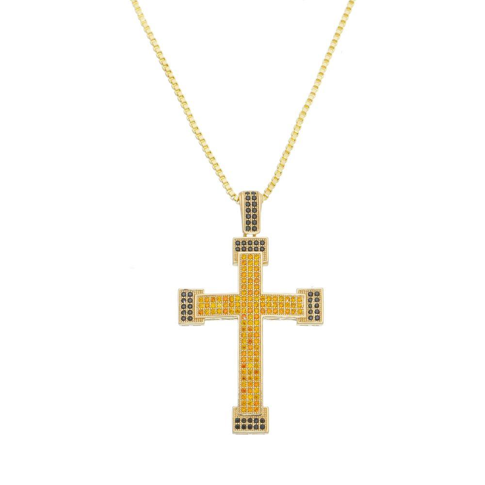 Gargantilha Cruz Com Zircônias e Corrente Veneziana Folheada a Ouro 18k