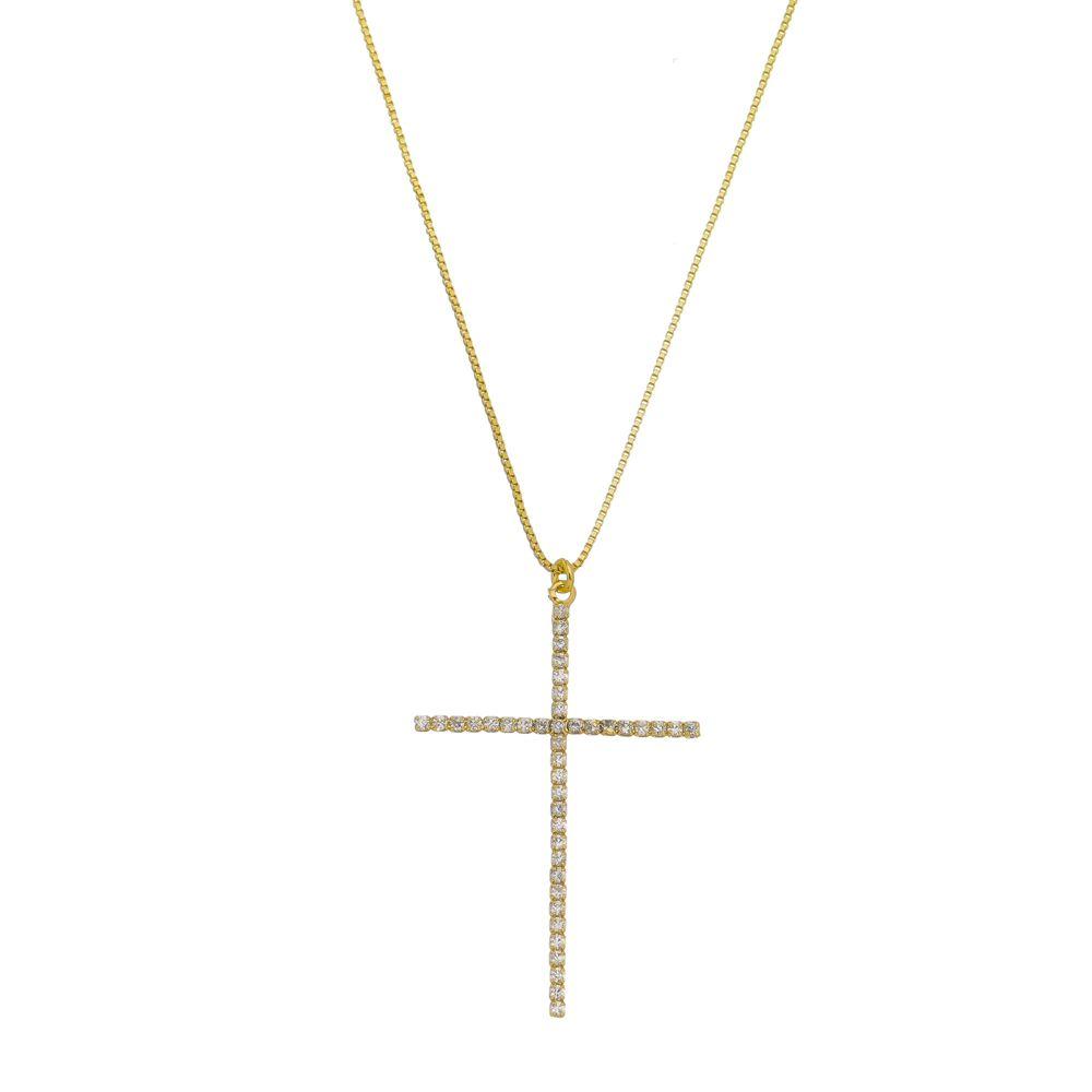 Gargantilha Cruz Com Zircônias Folheada a Ouro 18k