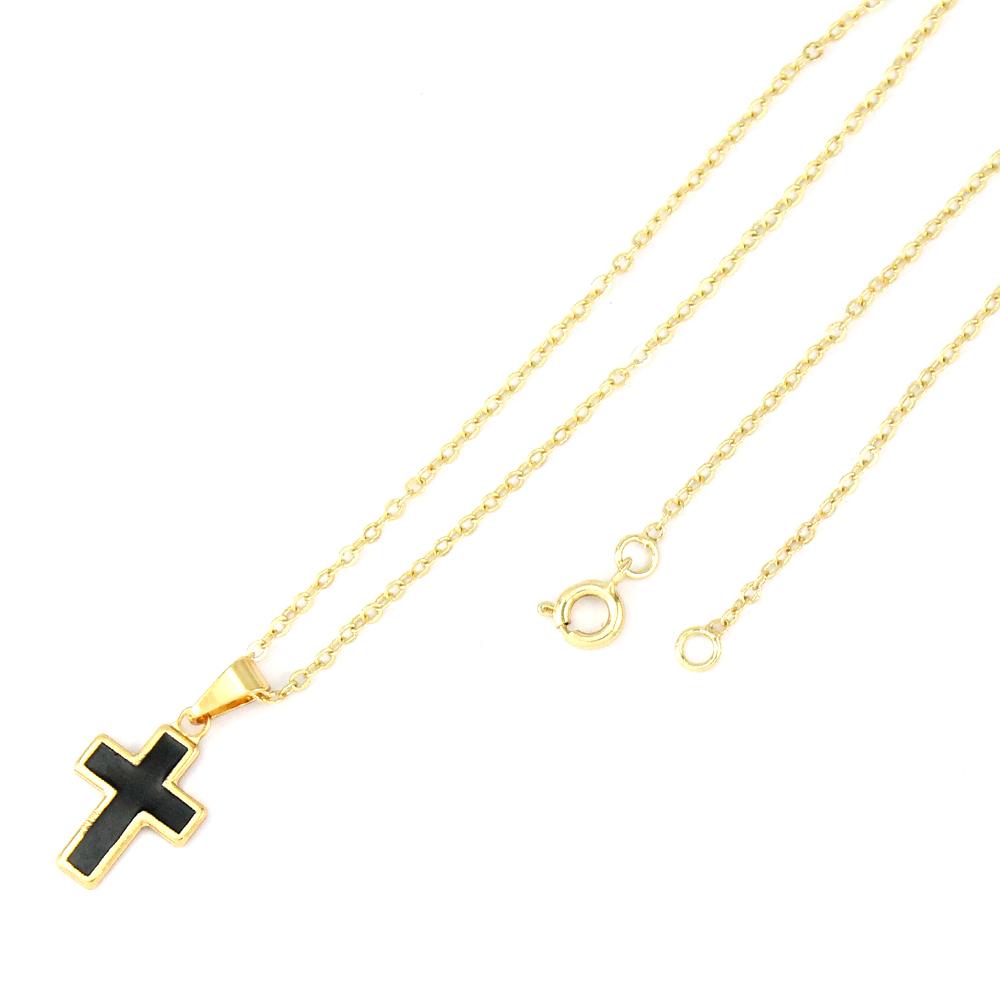 Gargantilha Cruz Pequena Folheado A Ouro 18k