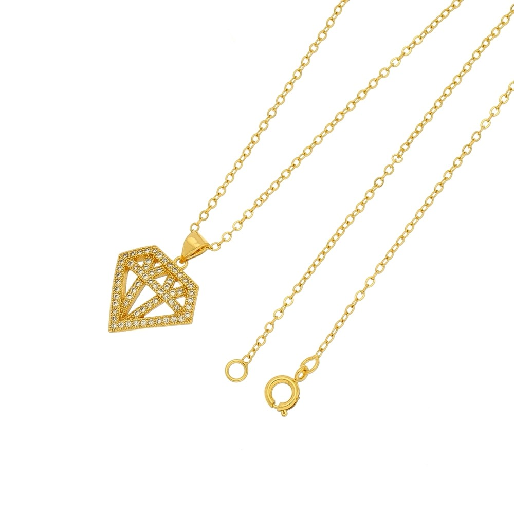 Gargantilha Diamante  Folheada a Ouro 18k