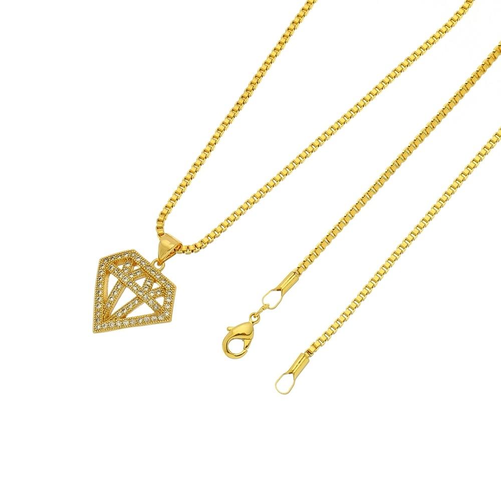 Gargantilha Diamante Folheada a Ouro 18k Com Corrente Veneziana