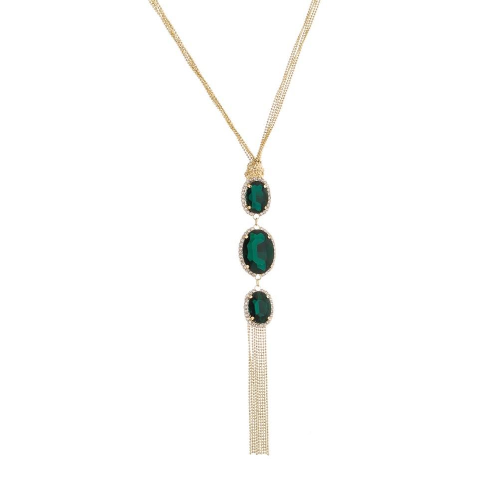 Gargantilha Folheada a Ouro 18 Com Pedras Verde