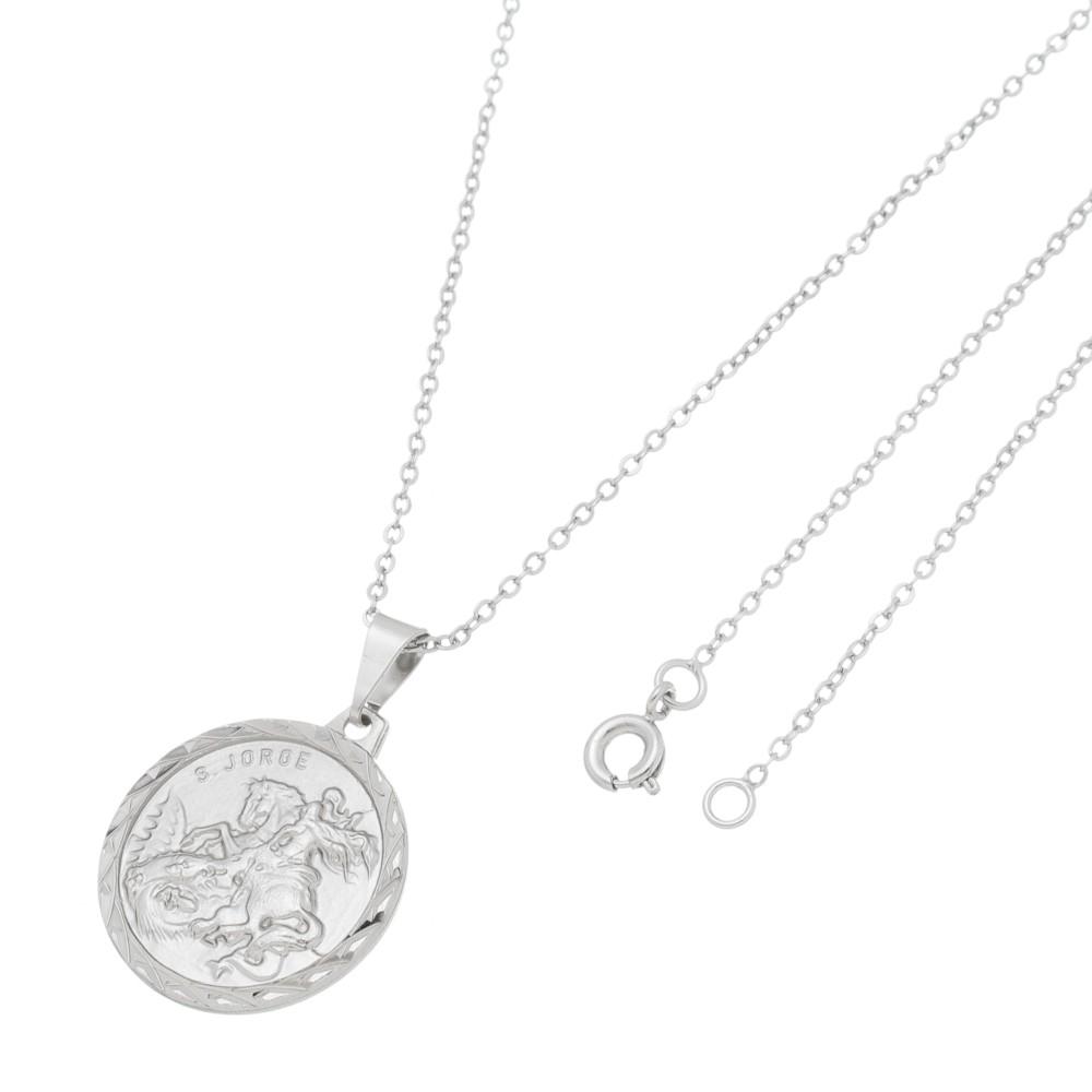 Gargantilha Medalha de São Jorge Folheado a Ródio Branco/Prateado