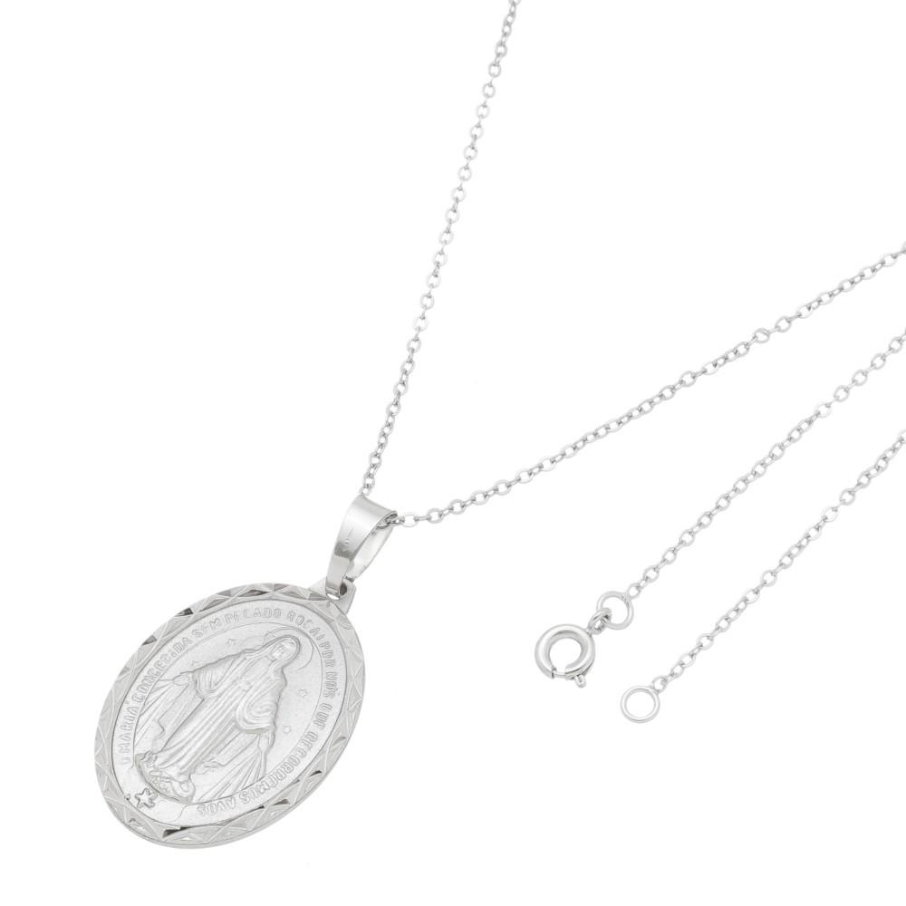 Gargantilha Medalha Nossa Senhora das Graças Folheado a Ródio Branco/Prateado