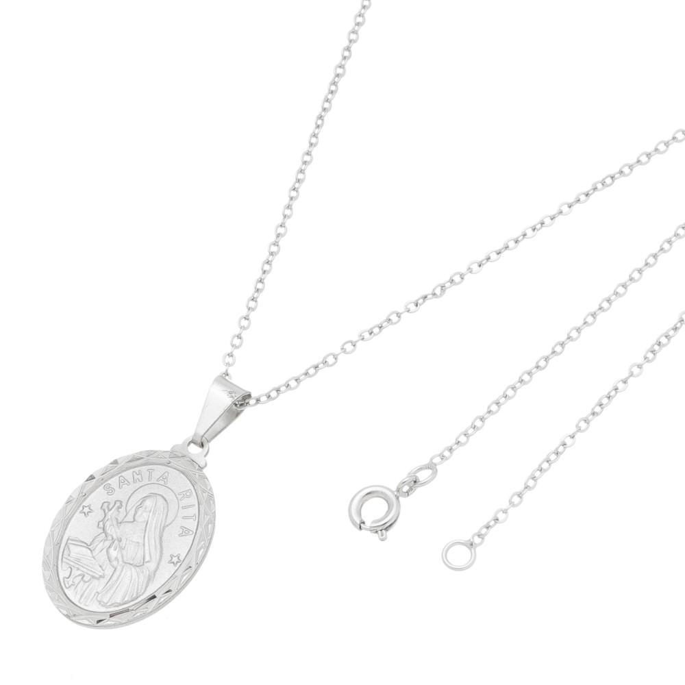 Gargantilha Medalha Santa Rita Folheado a Ródio Branco/Prateado