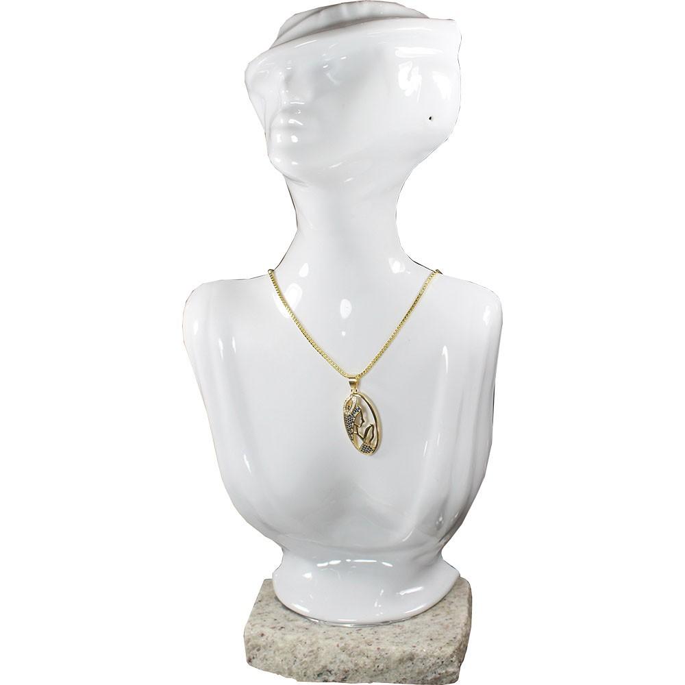Gargantilha Nossa Senhora Folheada a Ouro 18k Com Corrente Veneziana