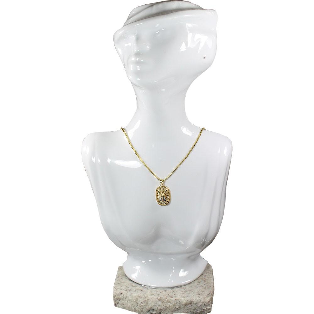 Gargantilha Nossa Senhora Folheada a Ouro 18k  Corrente Veneziana