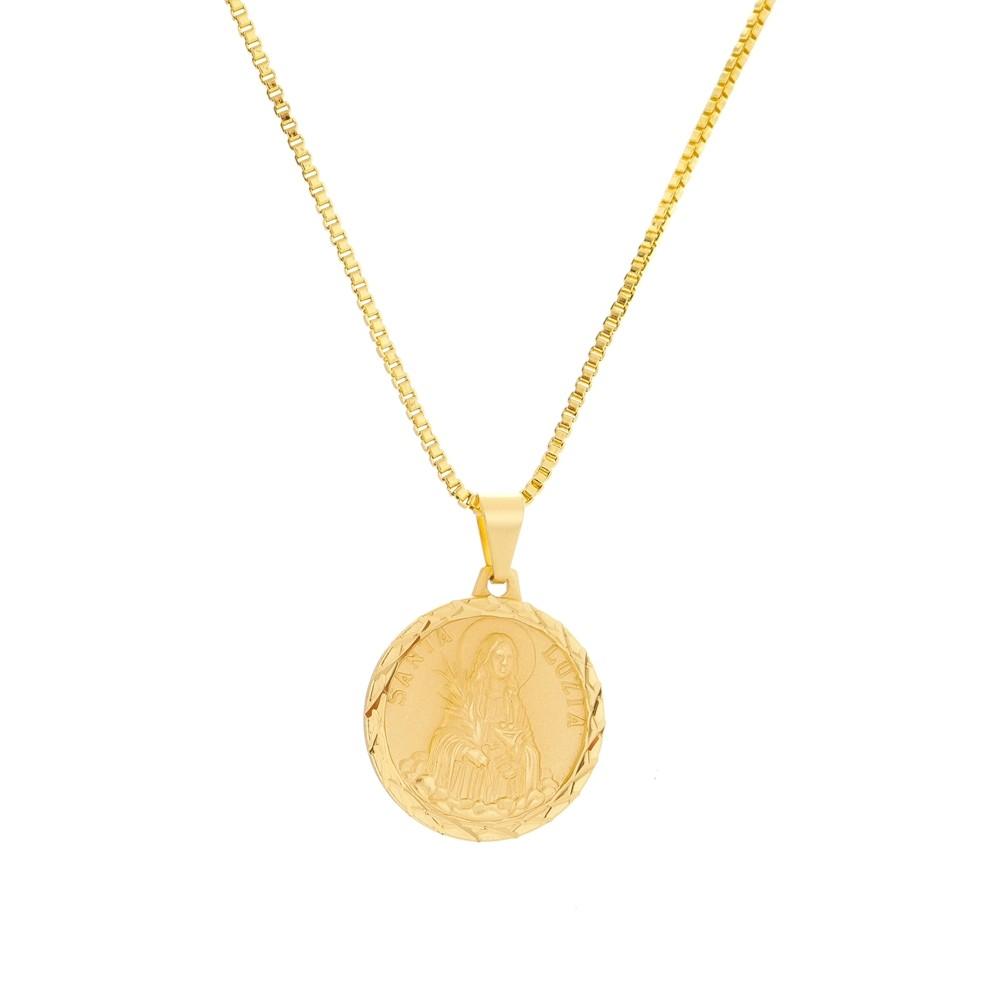 Gargantilha Santa Luzia Com Corrente Veneziana Folheada a Ouro 18k