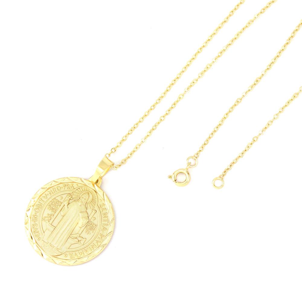 Gargantilha São Bento Diamantada Folheada a Ouro 18k