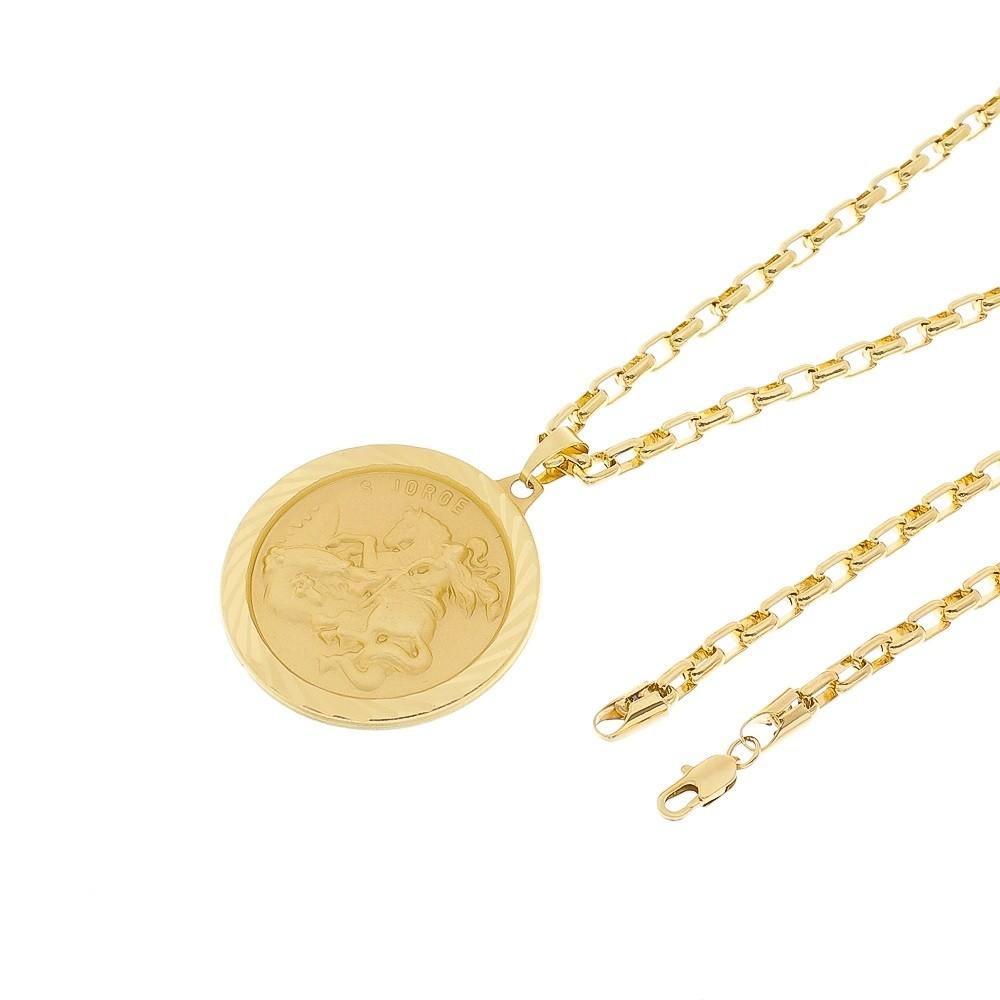 Kit Corrente modelo francesa 4mm + Medalha São Jorge Folheado a Ouro 18k
