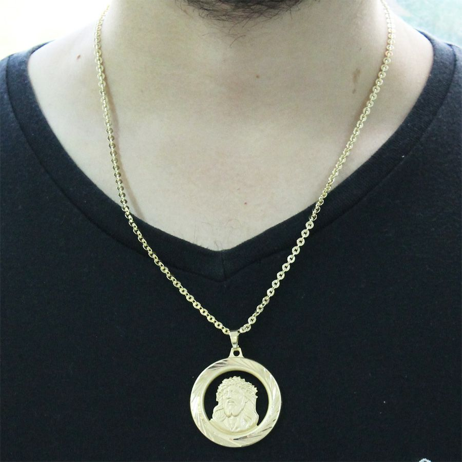 Kit Medalha Face de Cristo com Corrente Cadeado Folheado a Ouro 18k