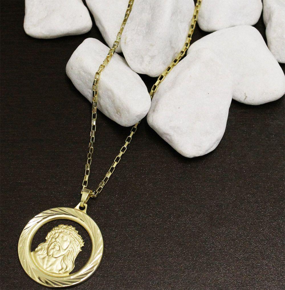 Kit Medalha Face de Cristo com Corrente Cartier 2mm e 60cm Folheado a Ouro 18k