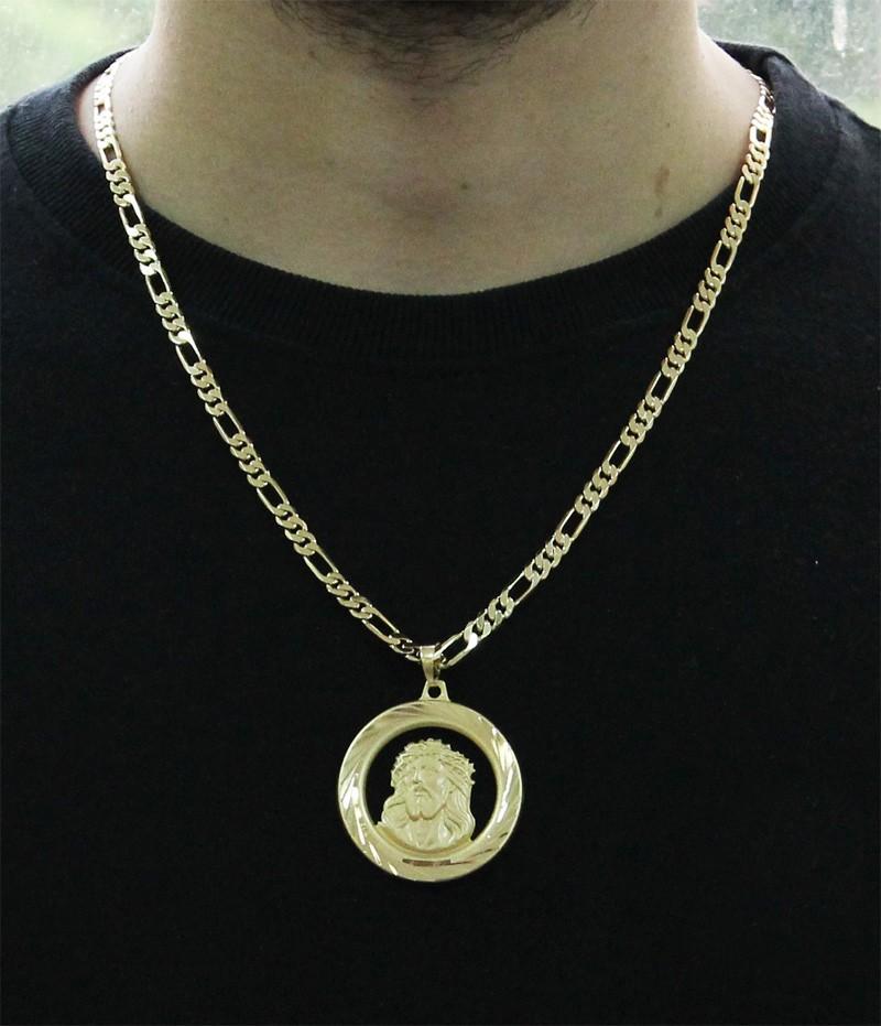 Kit Medalha Face de Cristo com Corrente elo 3x1 com 6mm e 60cm Folheado a Ouro 18k