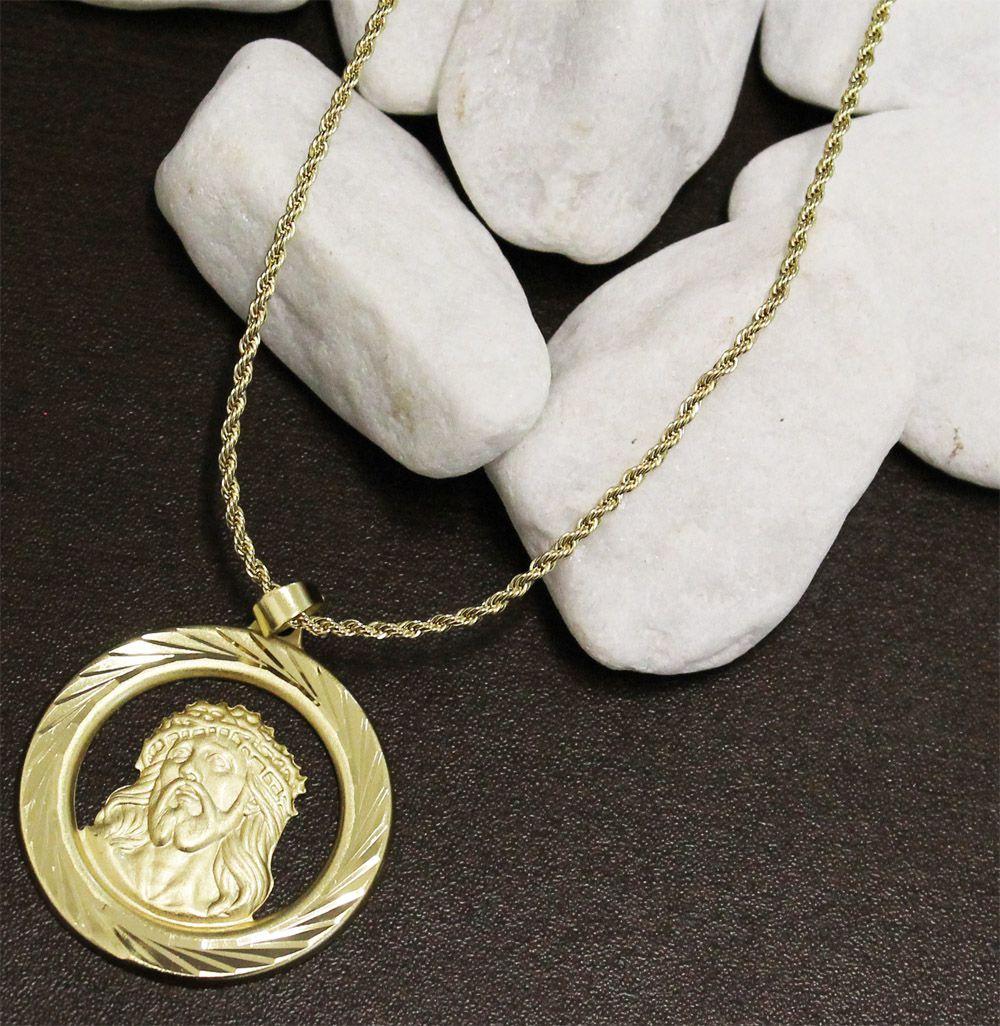 Kit Medalha Face de Cristo com Corrente elo Baiano 2mm e 60cm Folheado a Ouro 18k