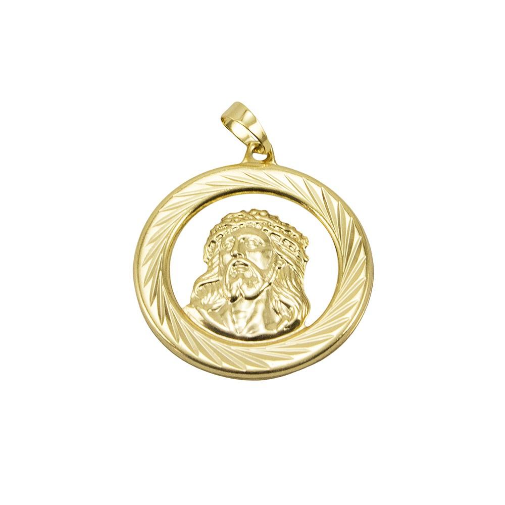 Kit Medalha Face de Cristo com Corrente Grumet 5mm e 60cm Folheado a Ouro 18k