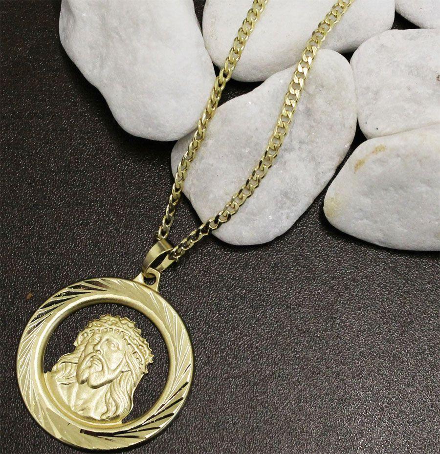 Kit Medalha Face de Cristo com Corrente Grumet com Fecho Gaveta Folheado a Ouro 18k