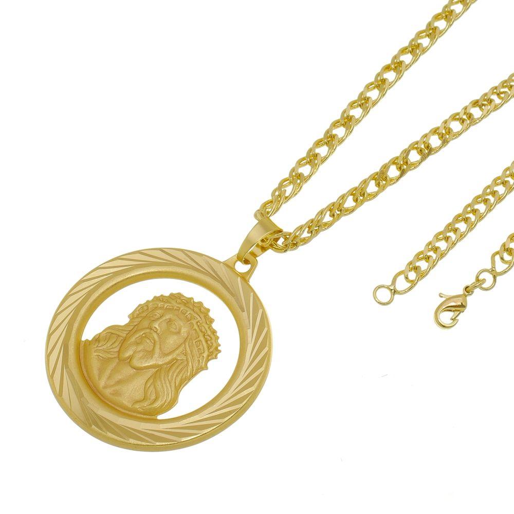 Kit Medalha Face de Cristo com Corrente Grumet Dupla Folheado a Ouro 18k
