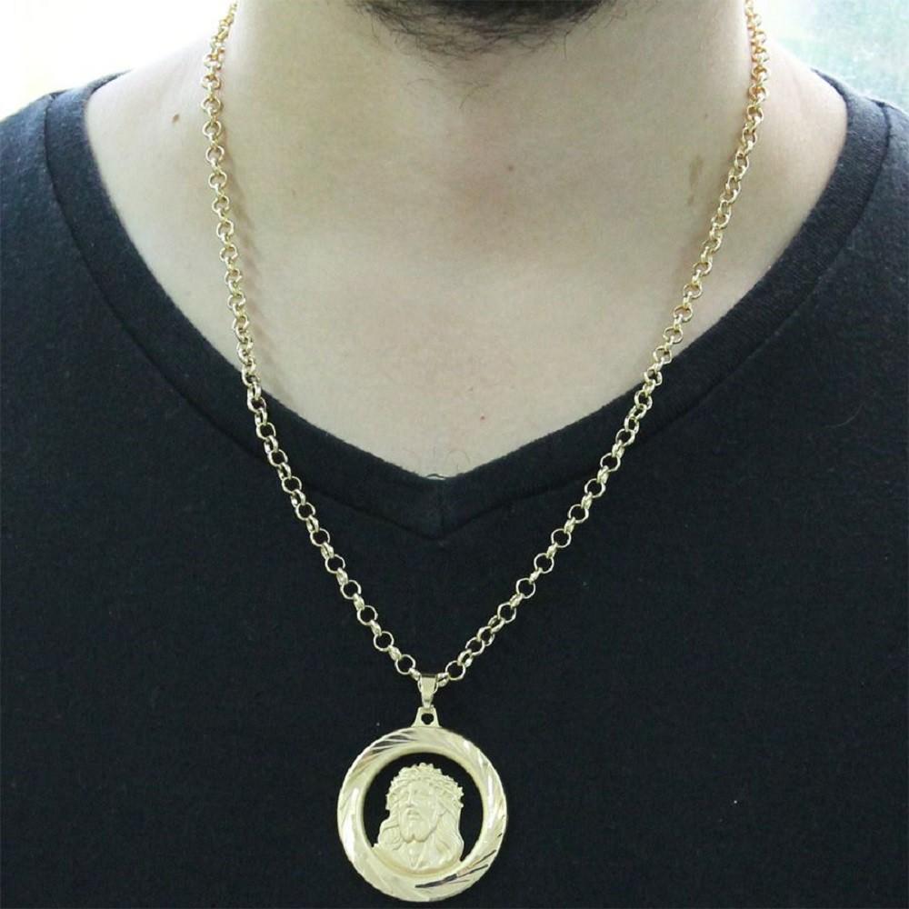 Kit Medalha Face de Cristo com Corrente Portuguesa Folheado a Ouro 18k