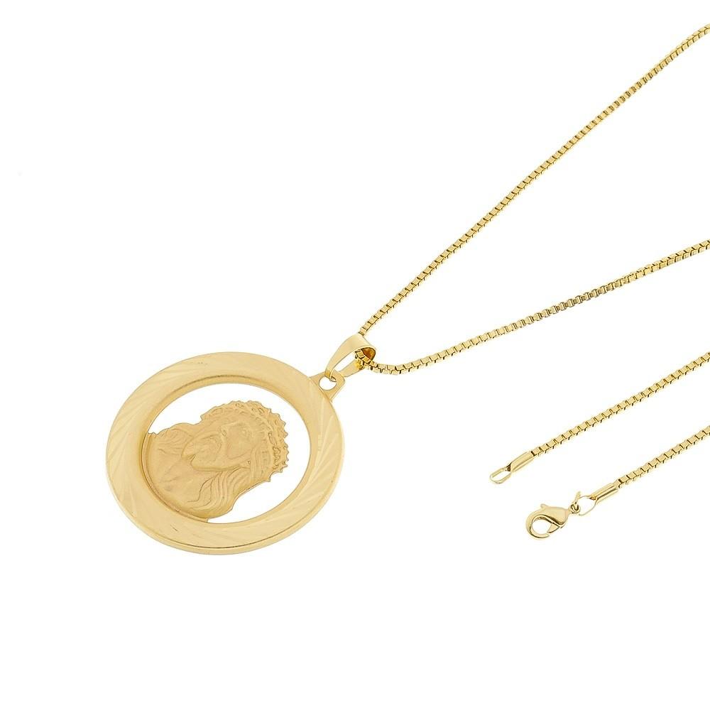 Kit Medalha Face de Cristo com Corrente Veneziana 1,5mm e 60cm Folheado a Ouro 18k