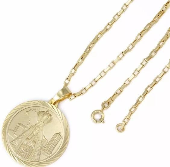 Kit Medalha Nossa Senhora Aparecida com Corrente modelo francesa 2mm e 60cm