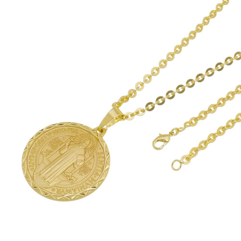 66b3de93b5c1b Kit Medalha São Bento com Corrente Cadeado Folheado a Ouro 18k ...