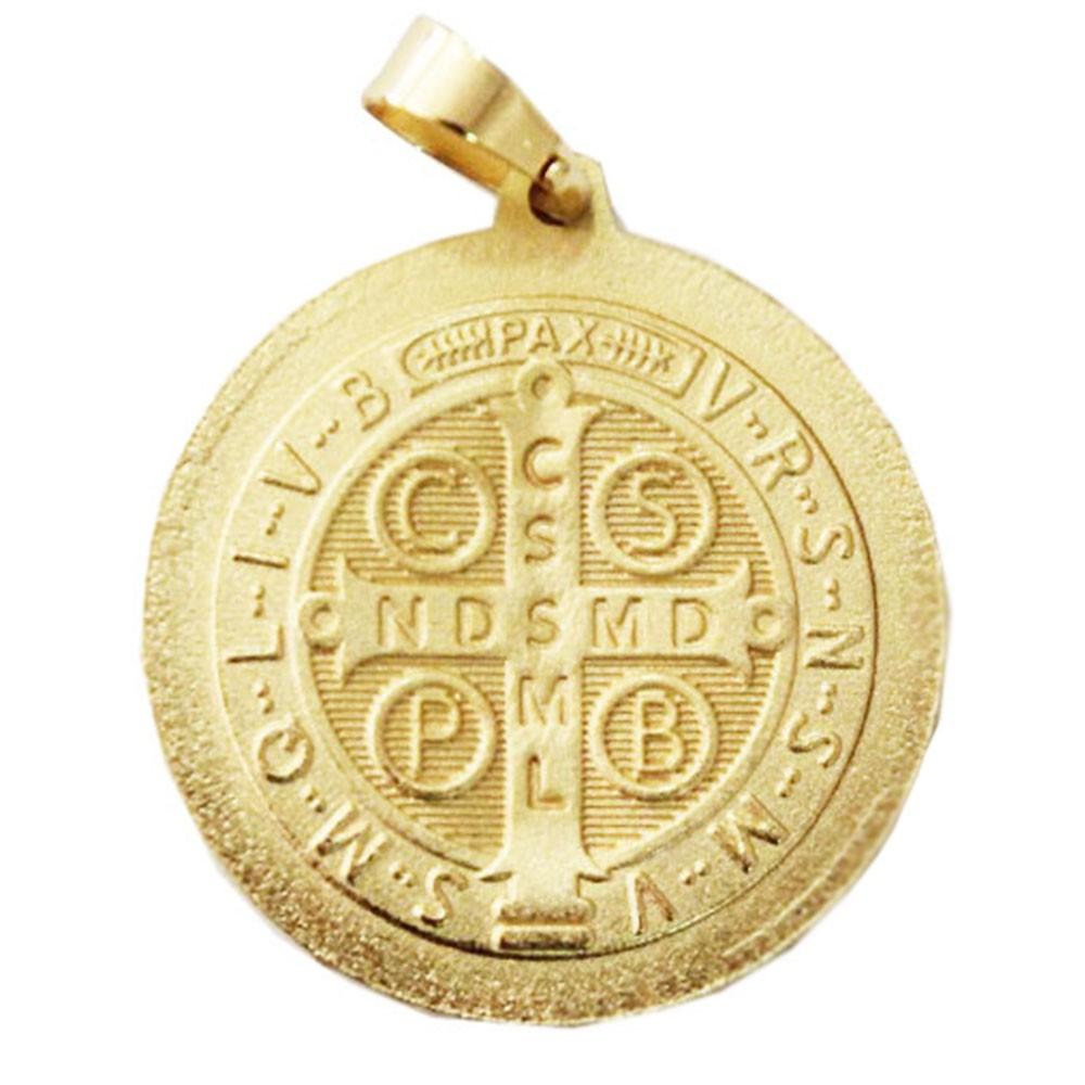Kit Medalha São Bento com Corrente Cadeado Quadrada