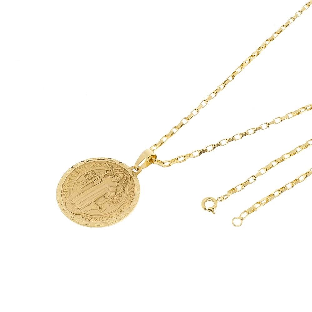 Kit Medalha São Bento com Corrente modelo francesa 2mm e 60cm Folheado a Ouro 18k