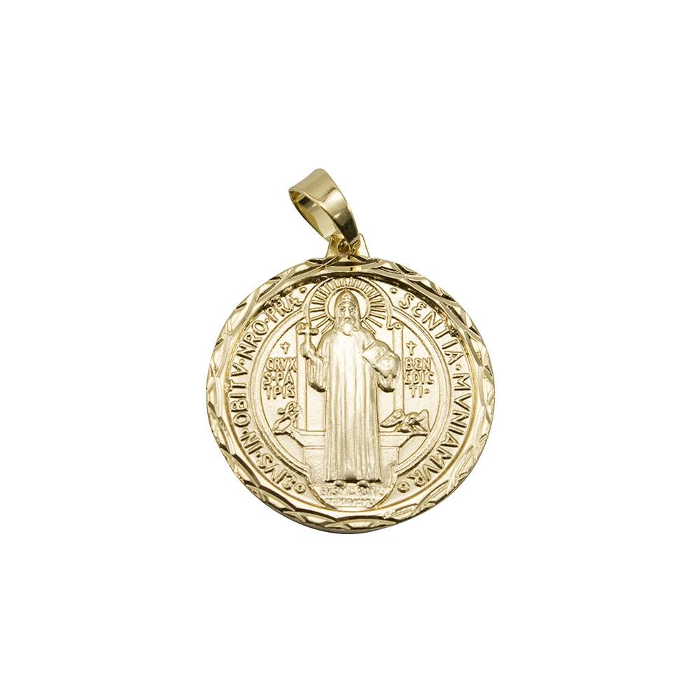 Kit Medalha São Bento com Corrente modelo francesa Longa 2mm e 60cm Folheado a Ouro 18k