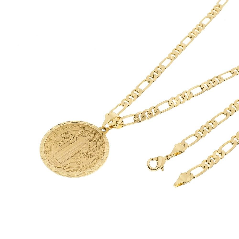Kit Medalha São Bento com Corrente Elo 3x1 6mm e 60cm Folheado a Ouro 18k