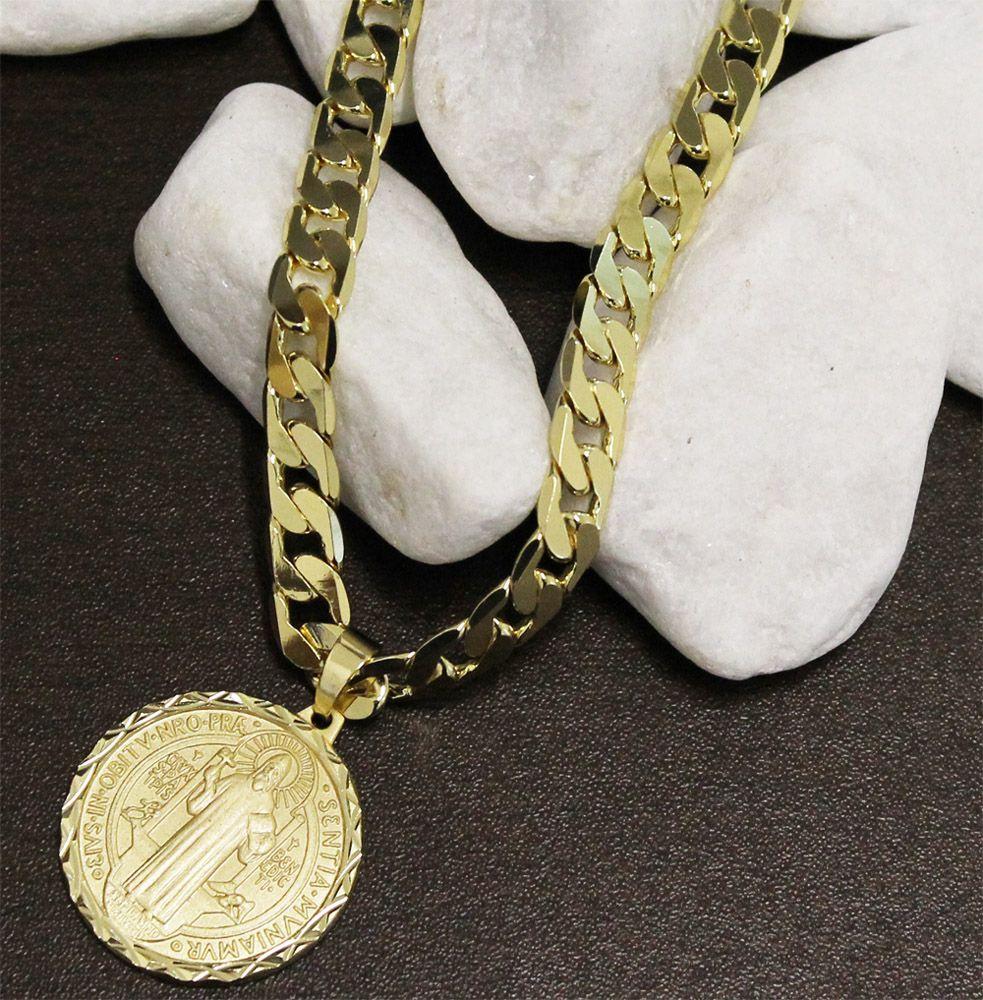 Kit Medalha São Bento com Corrente Grumet 8mm e 60cm Folheado a Ouro 18k