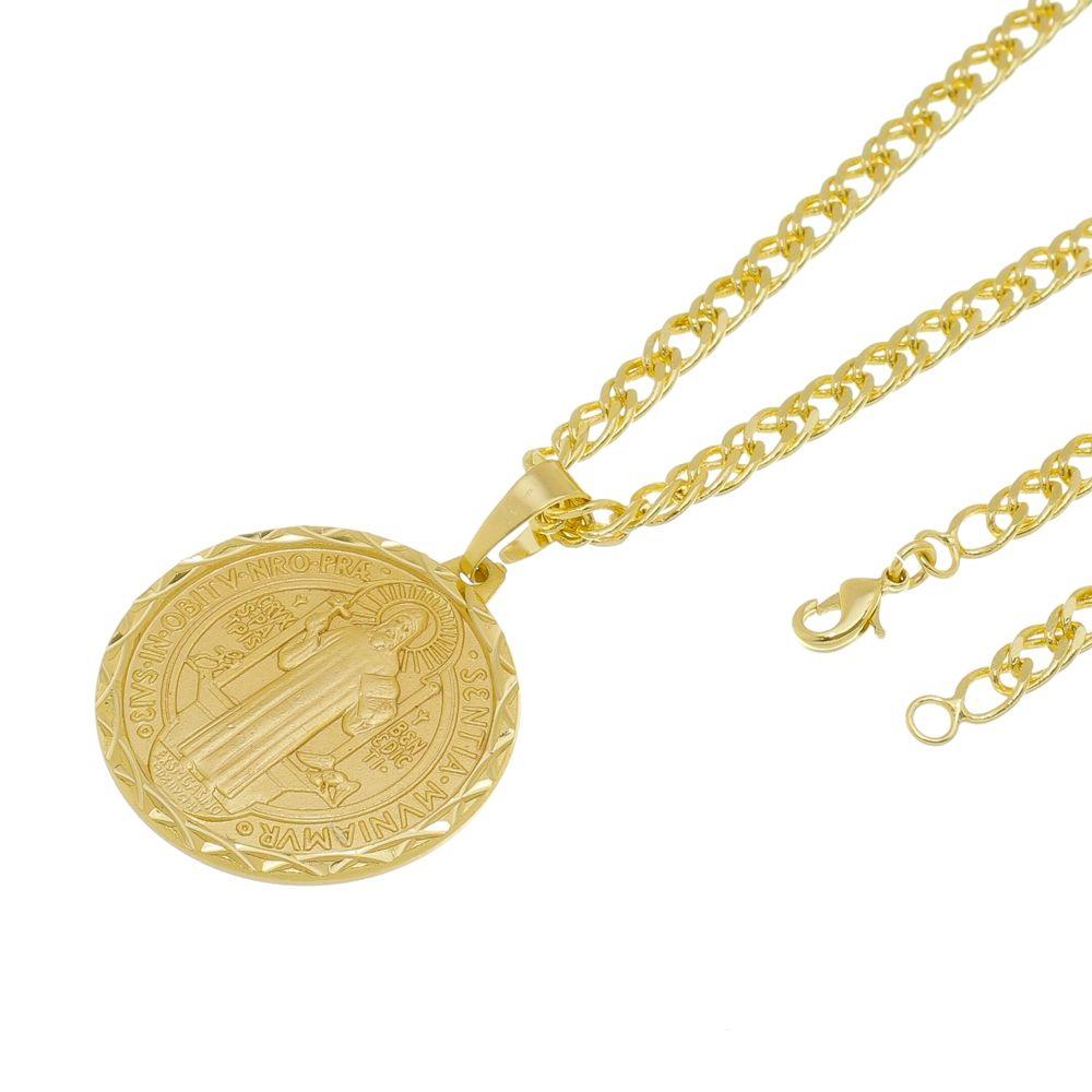 Kit Medalha São Bento com Corrente Grumet Dupla Folheado a Ouro 18k