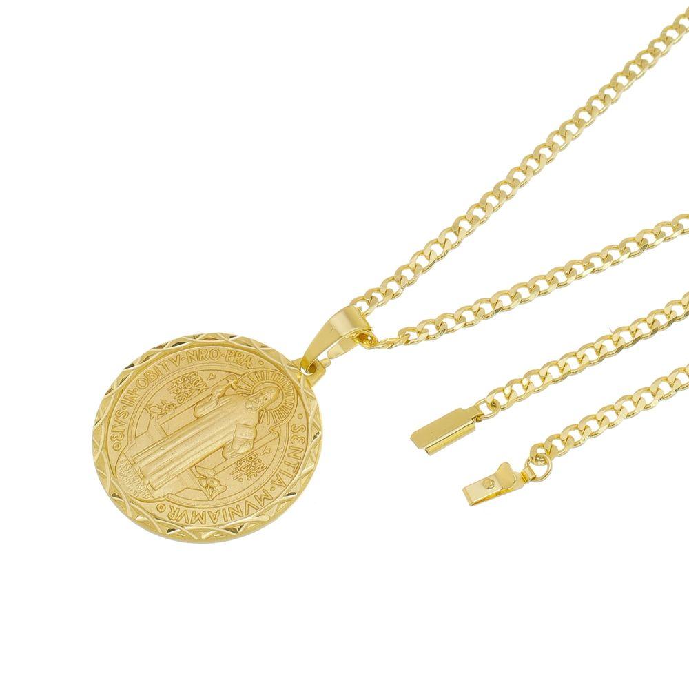 Kit Medalha São Bento com Corrente Grumet Fecho Gaveta Folheado a Ouro 18k
