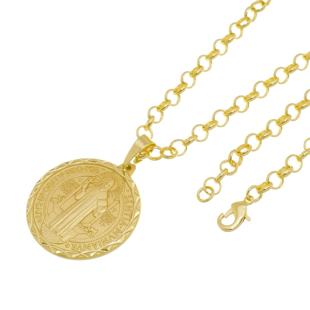 Kit Medalha São Bento com Corrente Portuguesa Folheado a Ouro 18k