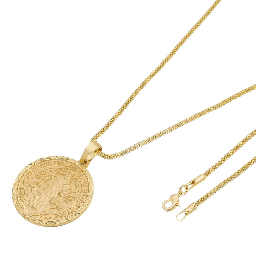 Kit Medalha São Bento com Corrente Rede Folheada a Ouro 18k