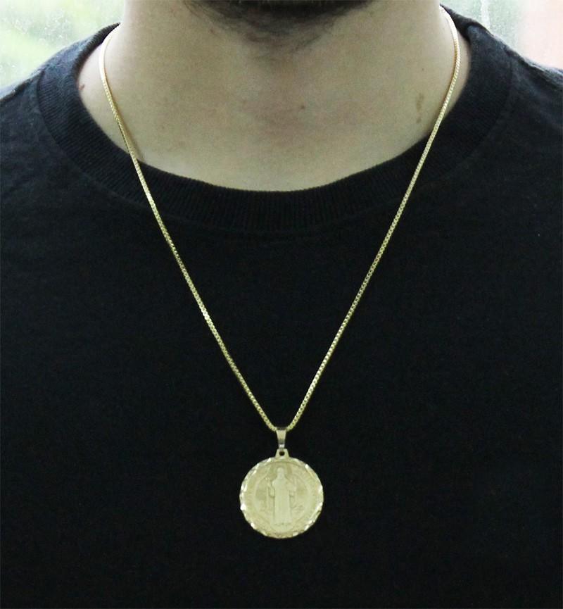 Kit Medalha São Bento com Corrente Veneziana 1,5mm e 60cm Folheado a Ouro 18k