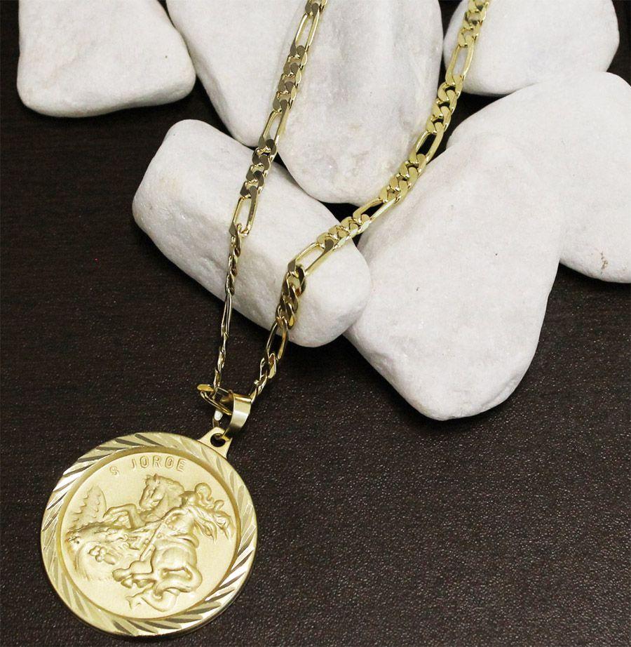 Kit Medalha São Jorge com Corrente 6mm Folheada a Ouro 18k