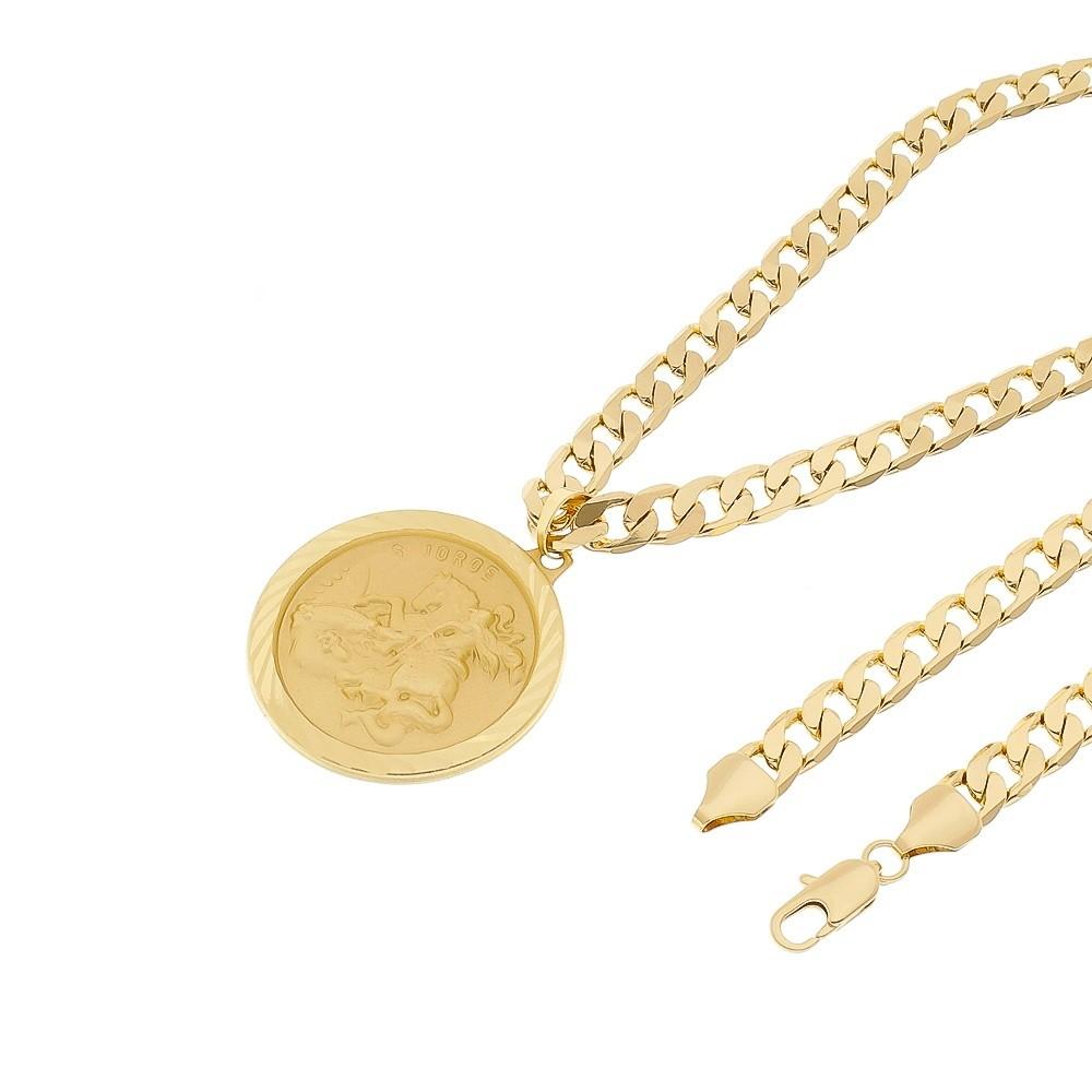 Kit Medalha São Jorge com Corrente 8mm Folheado a Ouro 18k