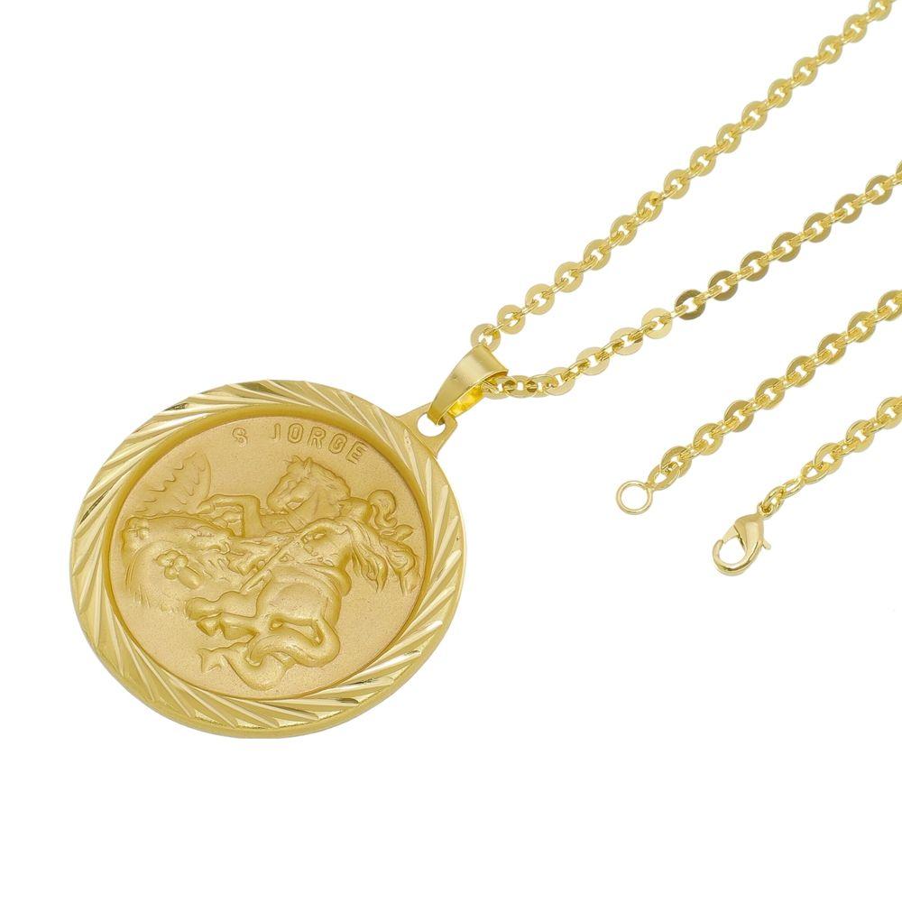 Kit Medalha São Jorge com Corrente Cadeado Folheado a Ouro 18k