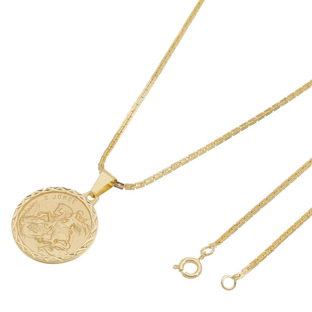 Kit Medalha São Jorge com Corrente Cadeado Quadrada