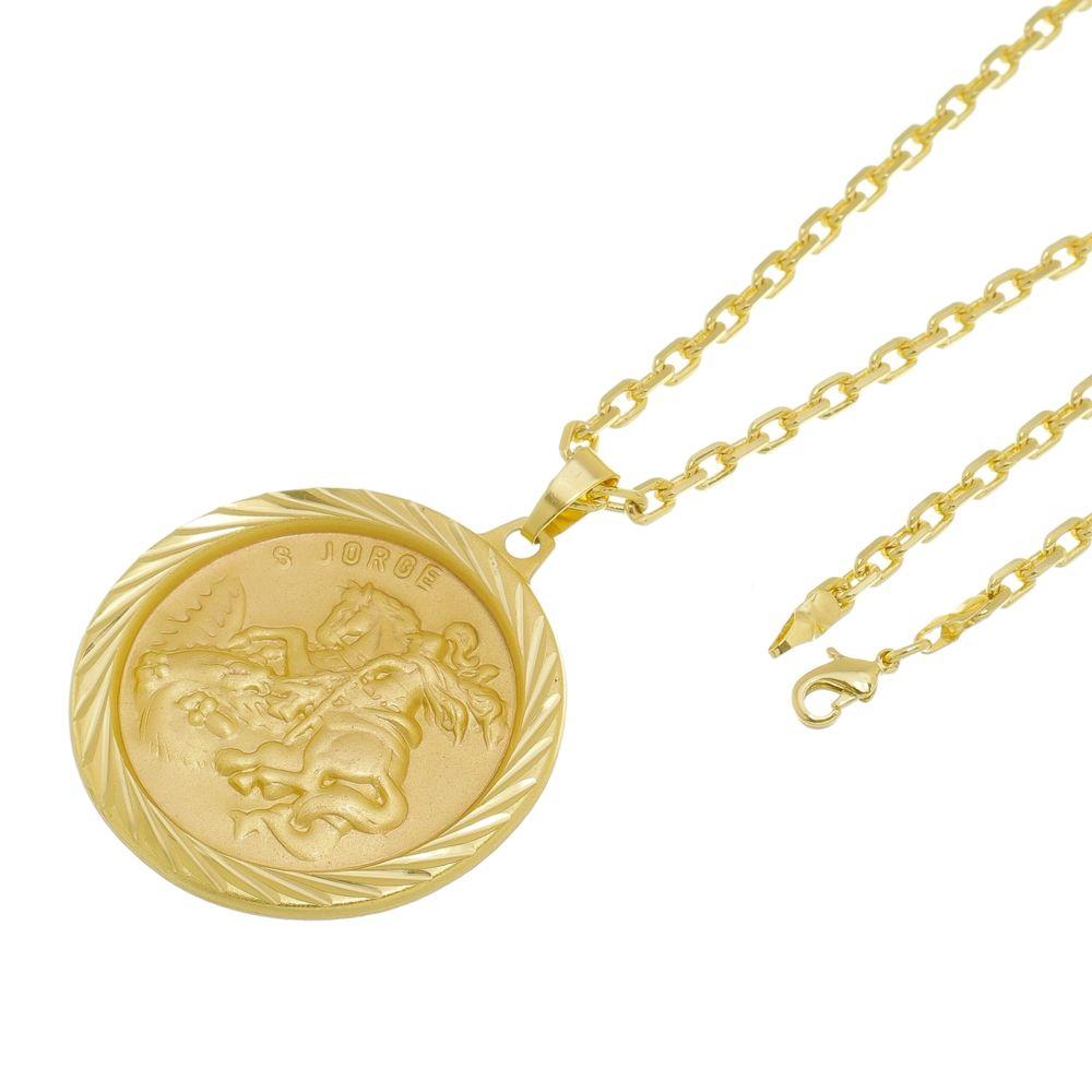 Kit Medalha São Jorge com Corrente Cartier Diamantada Folheado a Ouro 18k