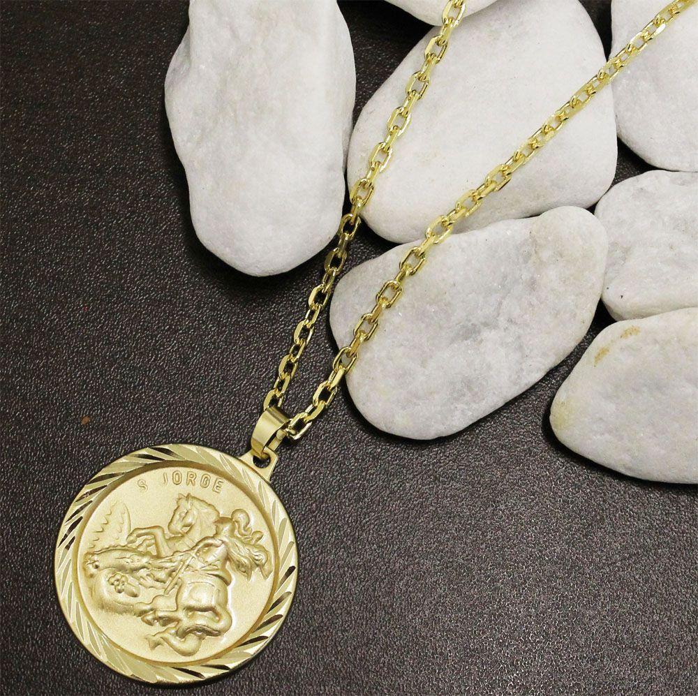 Kit Medalha São Jorge com Corrente modelo francesa Diamantada Folheado a Ouro 18k