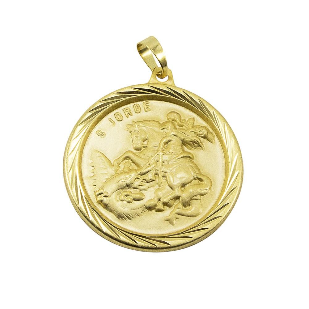 Kit Medalha São Jorge com Corrente Elo Baiano 2mm Folheado a Ouro 18k