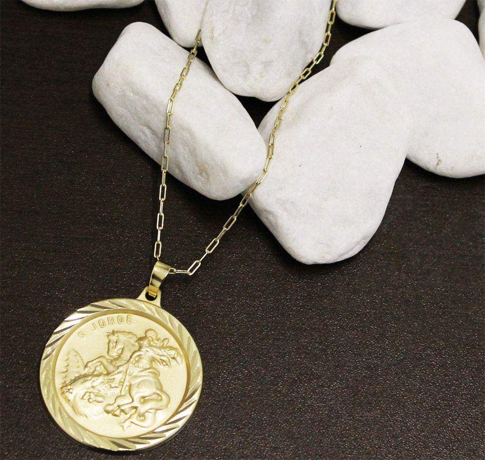 Kit Medalha São Jorge com Corrente Elo modelo francesa Longa 2mm Folheado a Ouro