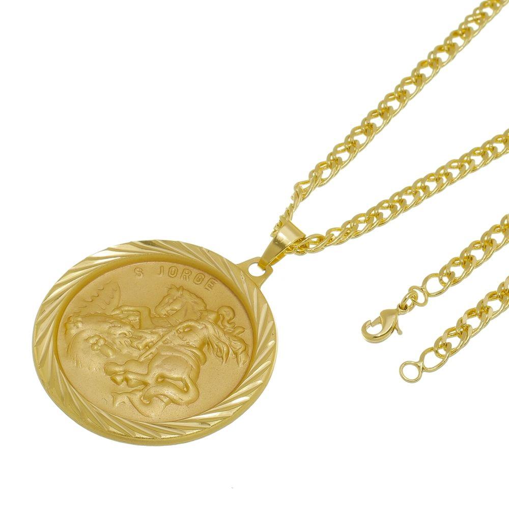Kit Medalha São Jorge com Corrente Grumet Dupla Folheado a Ouro 18k