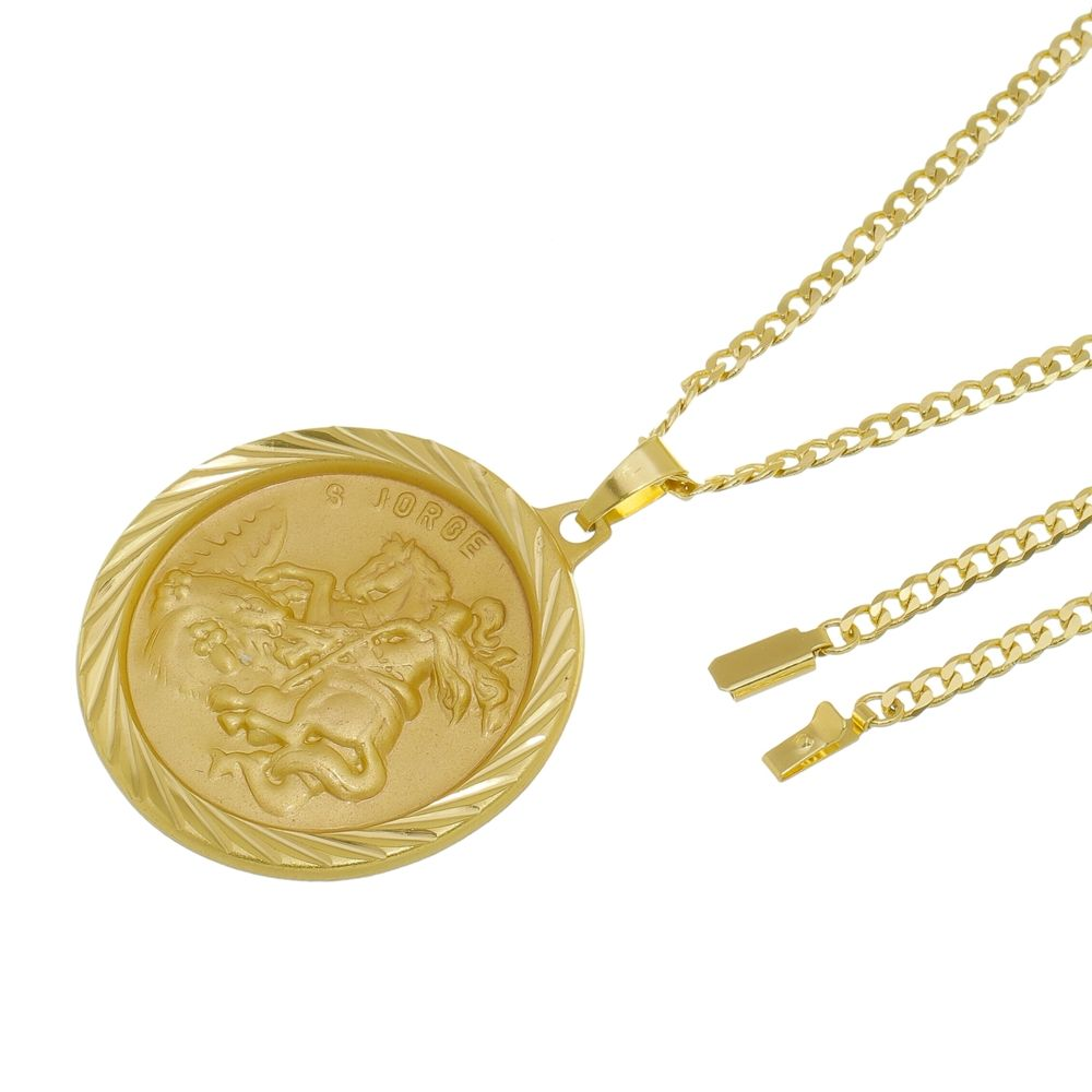 Kit Medalha São Jorge com Corrente Grumet Fecho Gaveta Folheado a Ouro 18k