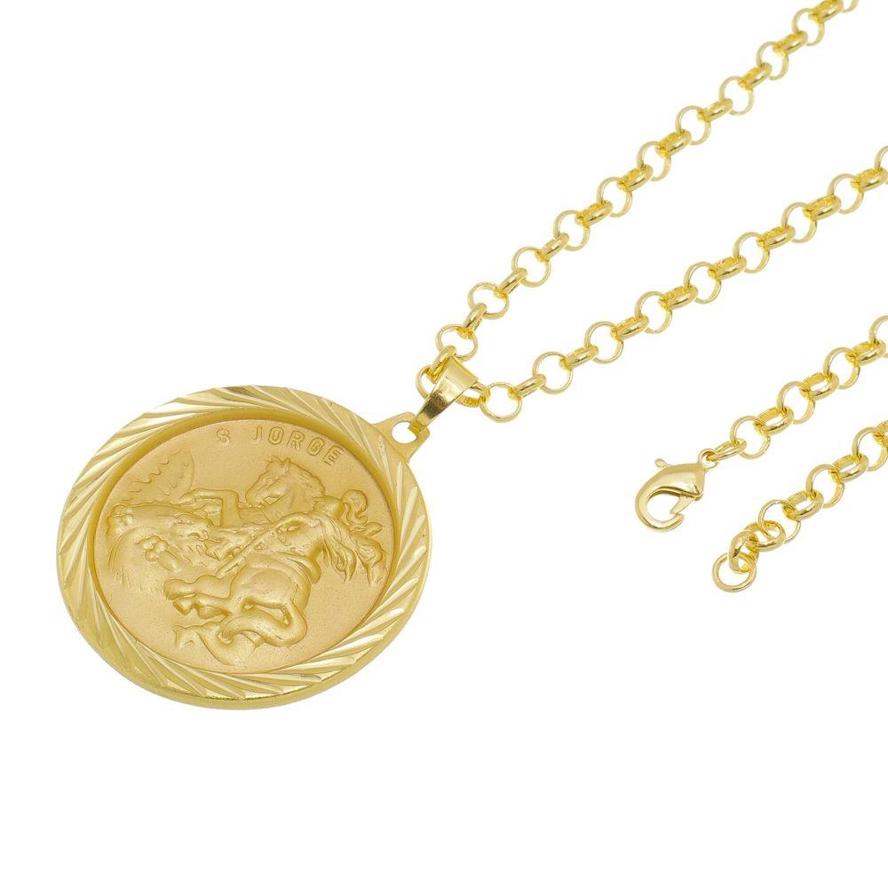 Kit Medalha São Jorge com Corrente Portuguesa Folheado a Ouro 18k