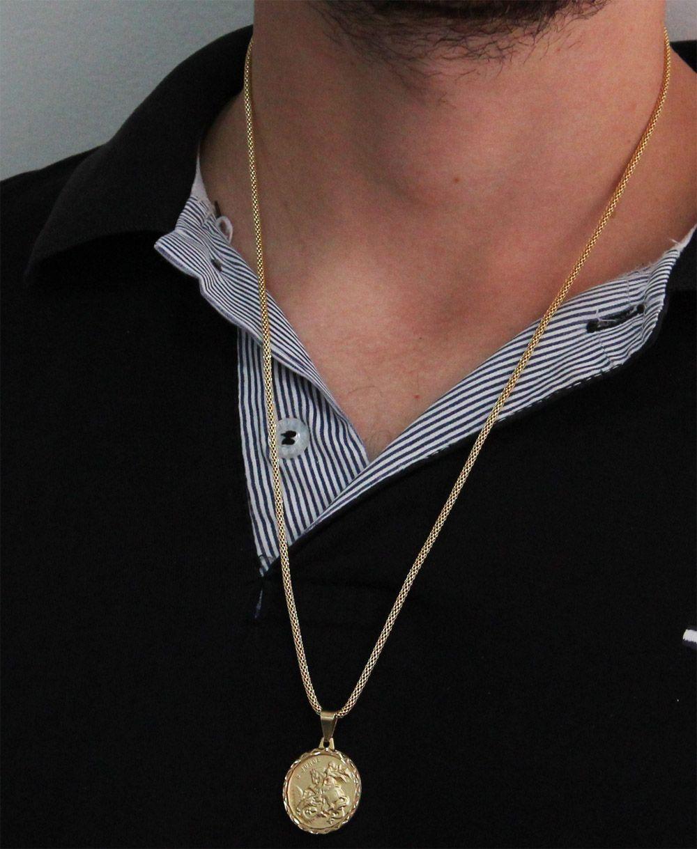 Kit Medalha São Jorge com Corrente Rede Folheada a Ouro 18k