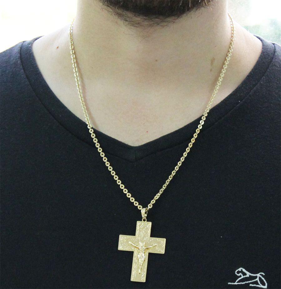 Kit Pingente Cruz com Corrente Cadeado Folheado a Ouro 18k